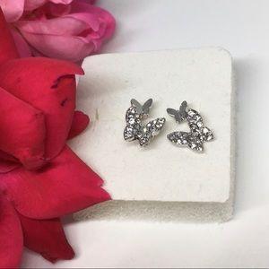 Sterling Silver Butterfly Stud Earrings w/Dangle